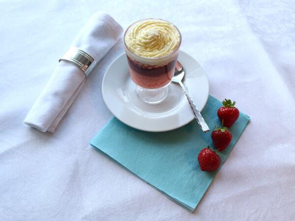 Strawberry and vanilla gateau level four puree