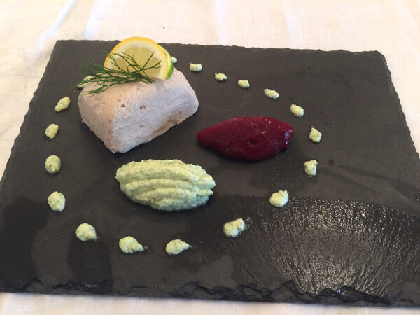 Smoked mackerel pate with pureed beetroot and watercress and horseradish cream level four puree